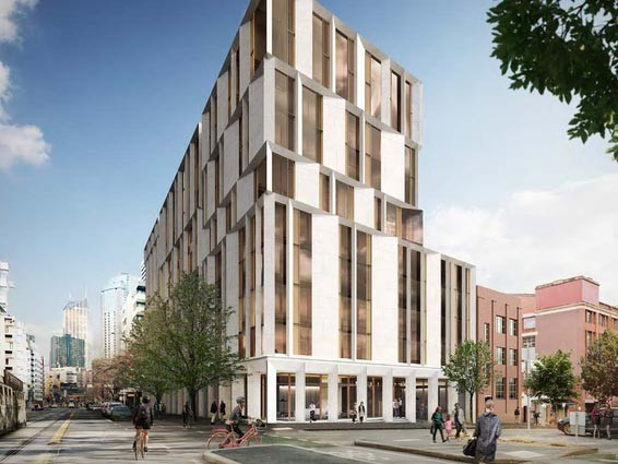 The proposed 14-storey University of Melbourne student accommodation hub would require the demolition of several heritage-protected buildings. Image: Hayball