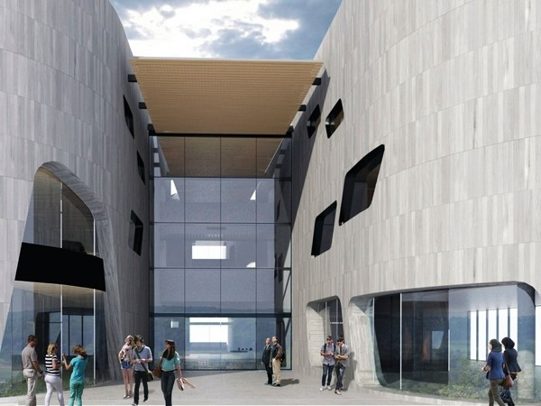 Woods Bagot also designed the precinct's 6000sqm University and cultural centre in 2013.Image: Woods Bagot