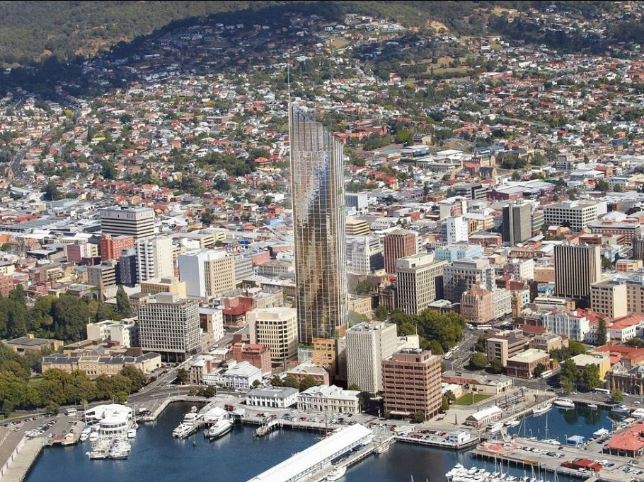 Artist's impression of Davey Street Hotel by Xsquared Architects. If approved, it will become Hobart's tallest building by a long shot. Image: Xsquared Architects