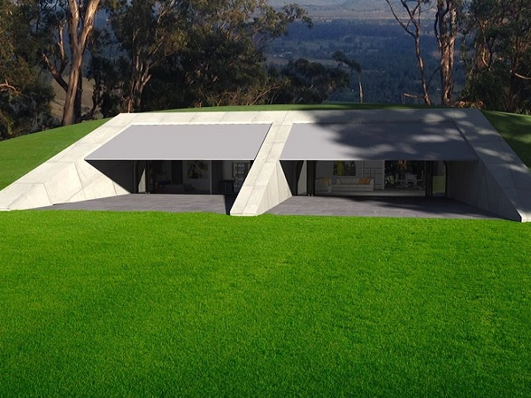 compressed earth bushfire resistant house exterior view