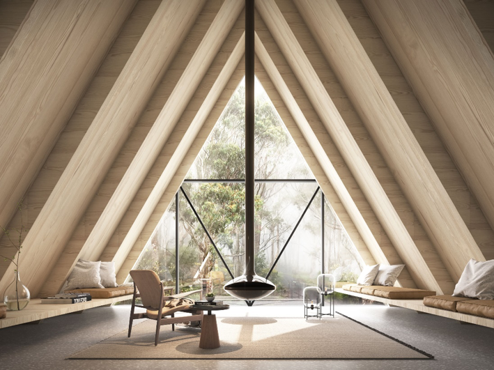 The Cabin, Mount Wilson. Designed by SJB Architects, structural engineering by ACOR Consulting. Image: Charles Peters