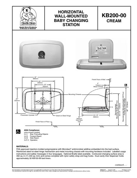 Horizontal Wall Mounted Baby Changing Station