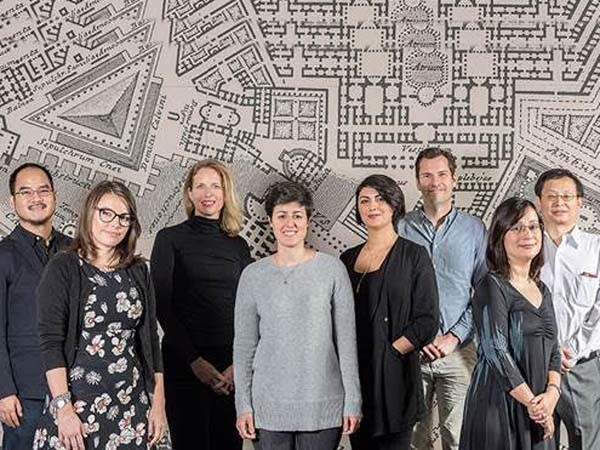 University of Sydney architecture school staff. (L-R) Dr Non Arkaraprasertkul, Associate Professor Cara Wrigley, Dr Ljudmila Koprivec, Dr Eugenia Gasparri, Dr Naseem Ahmadpour, Dr David Kroll, Dr Tooran Alizadeh, Professor Jianlei Niu