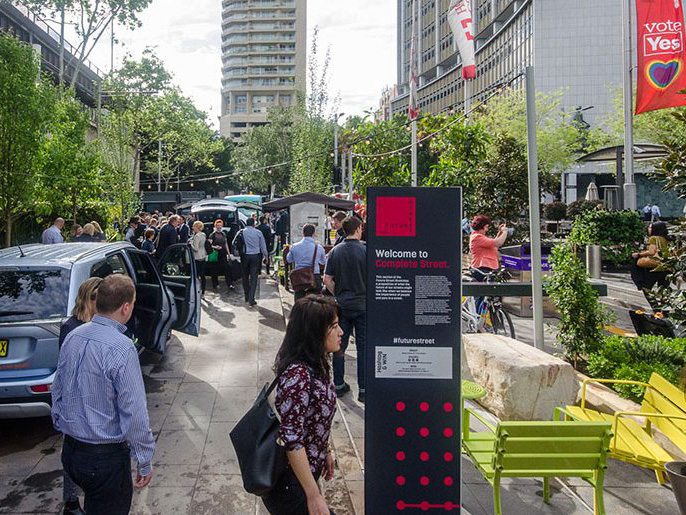The Future Street activation at Alfred Street, Sydney. Image: Place Design Group