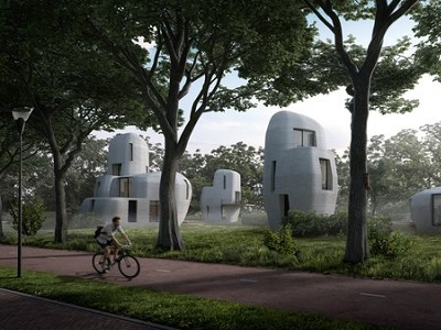 An artist's impression of the five 3D-printed concrete houses in Eindhoven. Picture: Houben/Van Mierlo architects