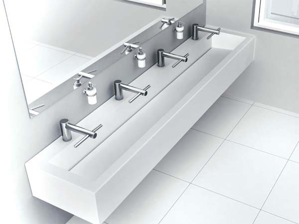 Corian washplanes with Dyson Airblade Tap hand dryers