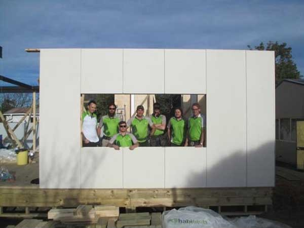 Habitech's wall panels being installed at LiteGreen's 'Concept House' project in Christchurch
