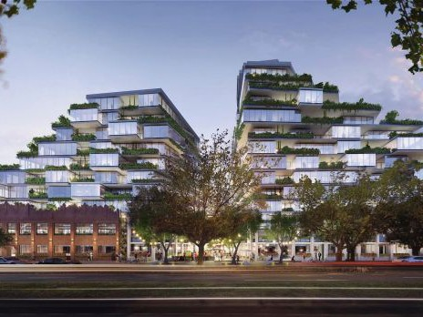 "Gurner's proposed residential development at 26-56 Queens Parade, Fitzroy North. The new retail and commercial precinct would be developed to ""interact"" with this prior project. Image: FloodSlicer"