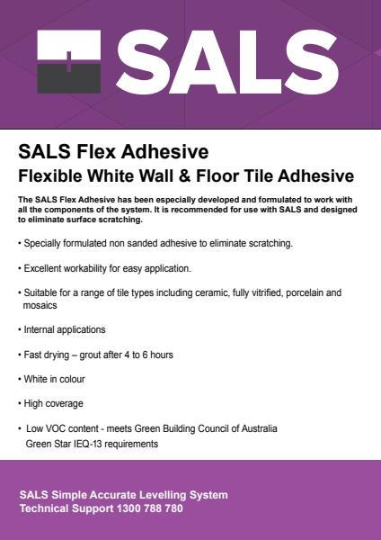 SALS Flex Adhesive – Flexible White Wall and Floor Tile Adhesive