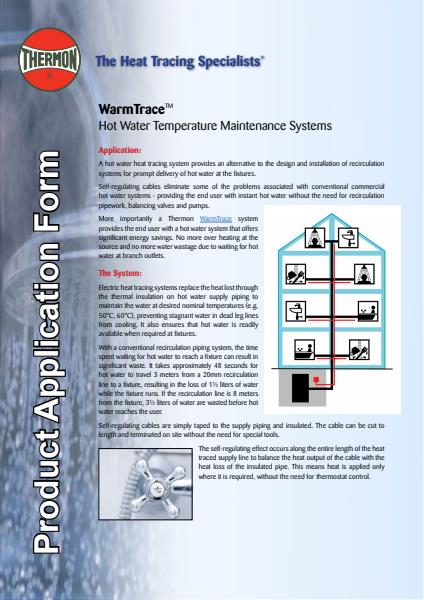 Warmtrace Application Sheet