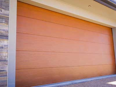 A DecoWood timber look steel garage door