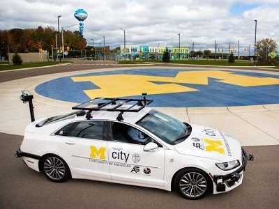 The specially equipped Lincoln MKZ based at Mcity, is an open-source connected and automated research vehicle. Credit: University of Michigan