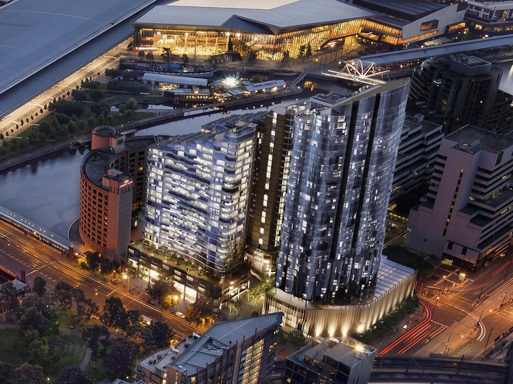 A trio of towers designed by Fender Katsalidis will bring luxury apartments, a five star hotel, destination dining, retail and public amenity to the former Convention Centre site on the corner of Melbourne's Flinders and Spencer Streets. Image: Supplied