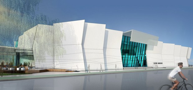 Tectonic plated cairns aquarium concept design progresses for Movement architecture concept