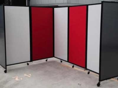 Custom office partitions wearing corporate colours