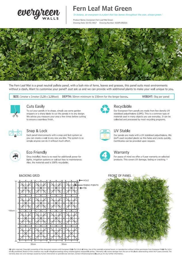 Fern Leaf Mat Green Specification Sheet