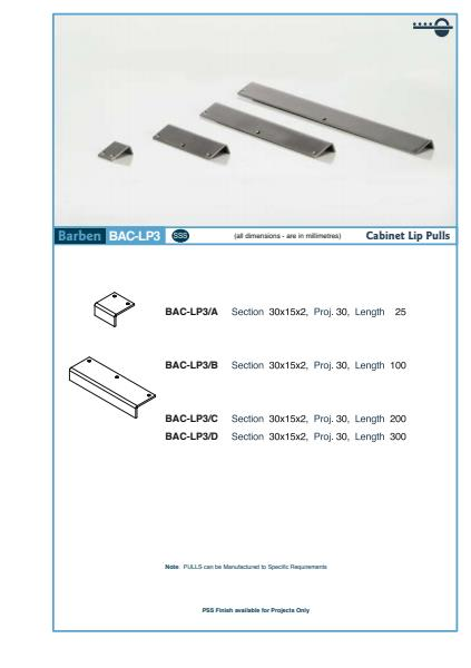BAC-LP3 Cabinet Handle Specifications