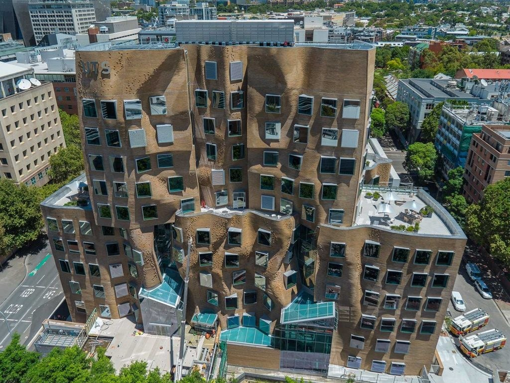 Frank Gehry's first Australian project opened in February. Opinions about its brick façade have been mixed. Photography by Coptercam, Source: BI Australia