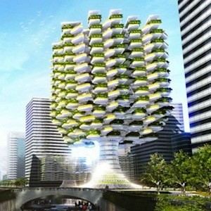 Tree Shaped Urban Skyfarm Provides Food And Renewable