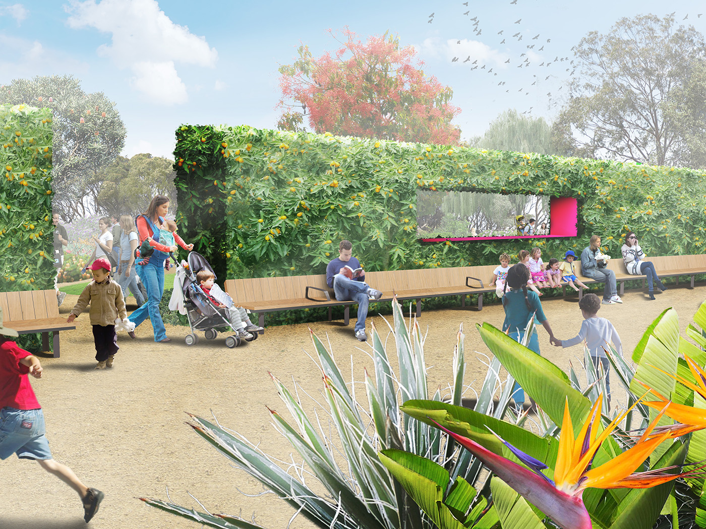 The 3.5-hectare garden is a contemporary, future-focused addition to Bendigo's historic botanic garden precinct that responds to the challenges of climate change in inspiring and immersive ways. Image: Supplied