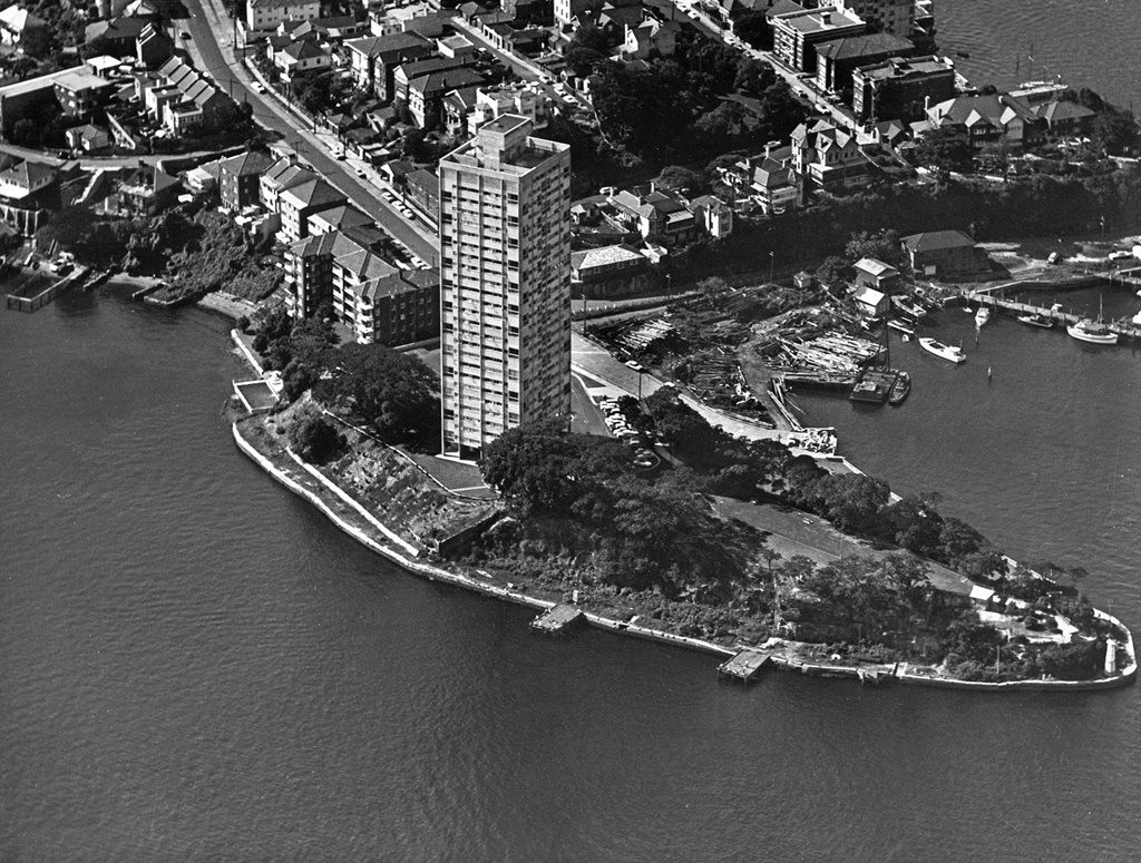 'Blues Point Tower' by Harry Seidler shortly after completion in 1962. Photograph by Australian Air Photos. Stanton Library