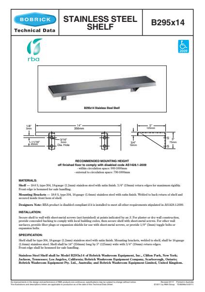 Stable Stainless Steel Shelf