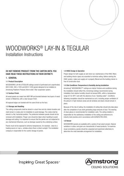 WoodWorks Lay In and Tegular Installation Instructions