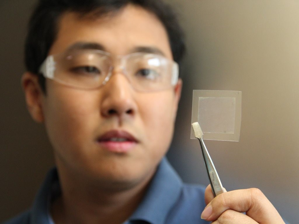 CSIRO Scientist Dr Dong Han Seo, co-author of the study, holds a piece of graphene film