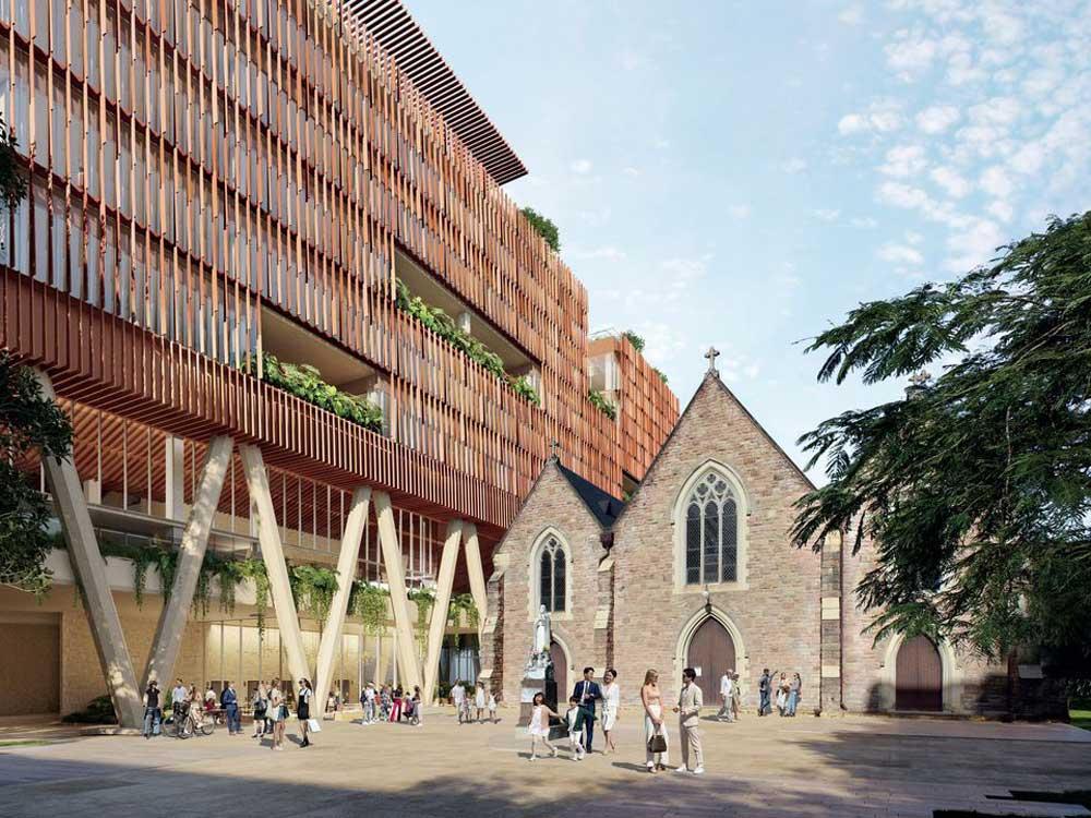 BVN-designed 8-storey office block to rise above Brisbane's historic St. Patrick's Church