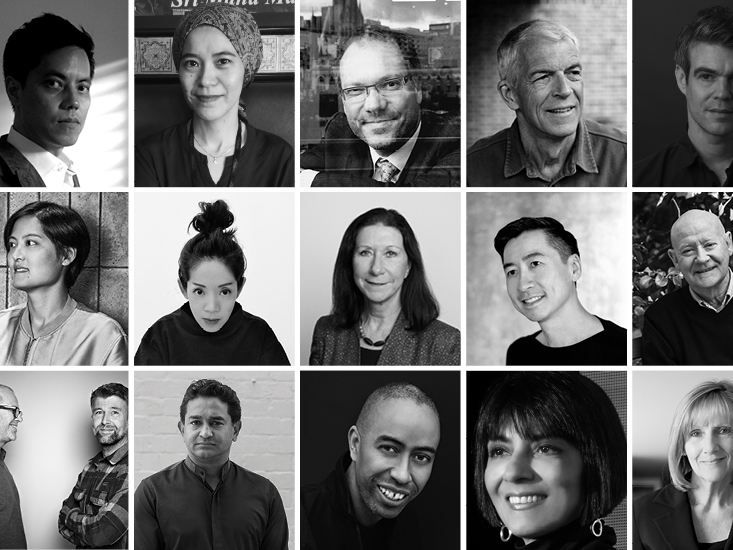 The 2019 INDEs jury members from top left and clockwise are: Chan E Mun, Eleena Jamil, James Calder, Jan Utzon, Joshua Comaroff, Joyce Wang, Judy Cheung, Leone Lorrimer, Luke Leung, Paul McGillick, Luke Pearson & Tom Lloyd, Raj Nandan, Stephen Burks, Shashi Caan, and Sue Carr. Image: Supplied