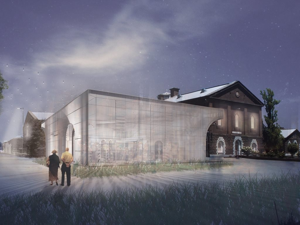 Ola Studios' vaulted, transparent design has won a competition to transform Building 18 of Victoria's historic Pentridge Prison. Image: Shayher Group