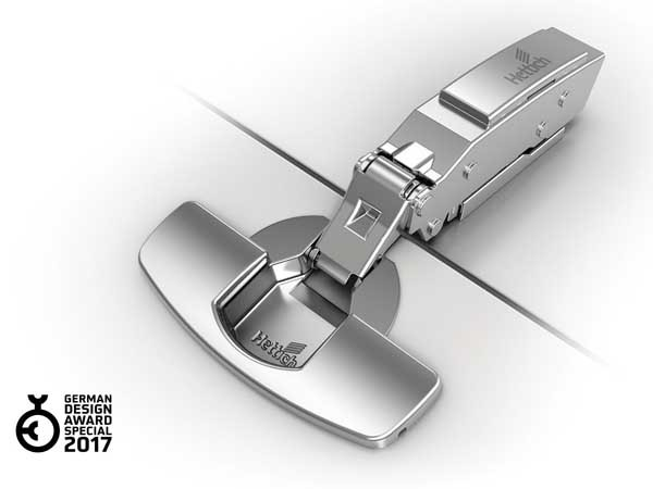 Winner of the German Design Award – Special Mention 2017: the Sensys thin door hinge from Hettich. Photo: Hettich