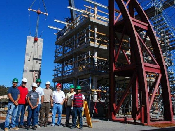 Robert Fleischman and members of his research team with a test structure built on the shake table at UC San Diego's Englekirk Structural Engineering Center. Credit: University of Arizona