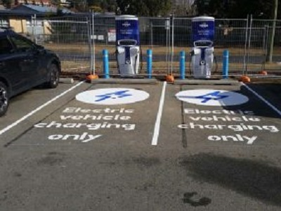Aegis bollards protecting EV charging station