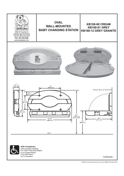 Oval Wall Mounted Baby Changing Station