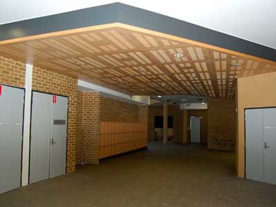 Ultraflex's custom manufactured acoustic ceiling panels were selected for the foyer areas on all four floors
