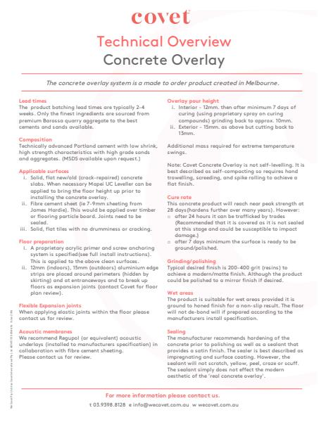 Technical Overview Concrete Overlay
