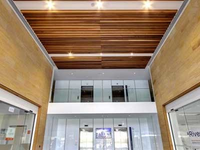 The double-height ceiling featuring Western Red Cedar panelling profiles