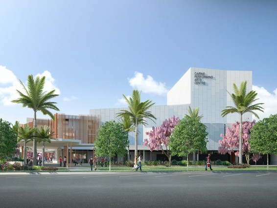 The $43.7 million Cairns Performing Arts Centre is due to open in mid-2018. Image: Cox Rayner Architects
