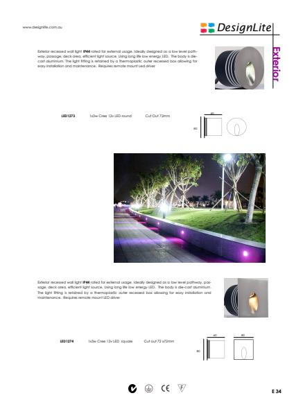 DesignLite Exterior Recessed Wall Lights Product Information