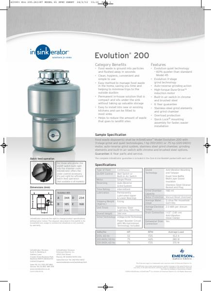 Evolution 200 Specification and installation