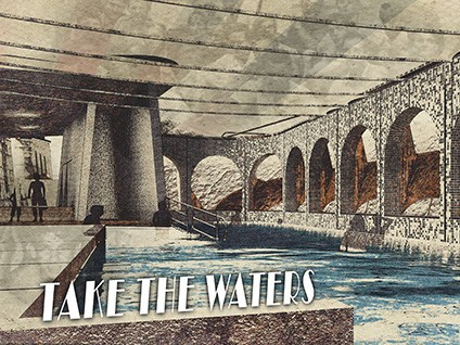 The drawing from Andrew's winning project of the re-imagined Moree Baths. Image: University of Newcastle