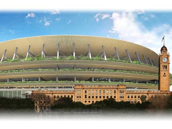 The proposed Tokyo National Stadium by Kengo Kuma