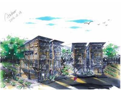 A concept drawing for the planned village by UNSW students
