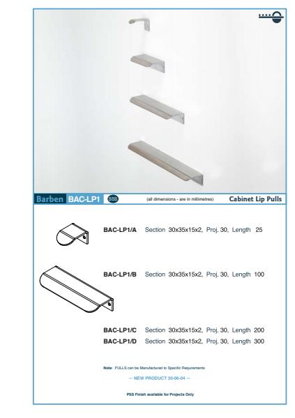 BAC-LP1 Cabinet Handle Specifications