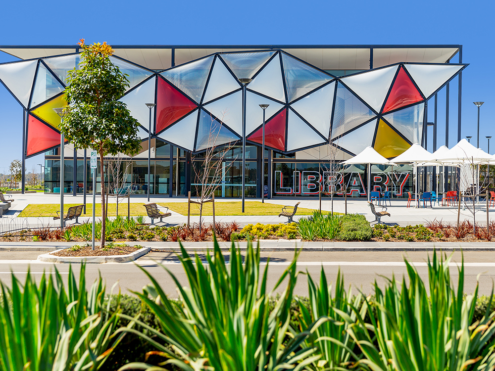 The new $14 million library and community resource centre at Oran Park Town has received the Western Sydney Leadership Dialogue Outstanding Community Project of 2018. Image: Supplied