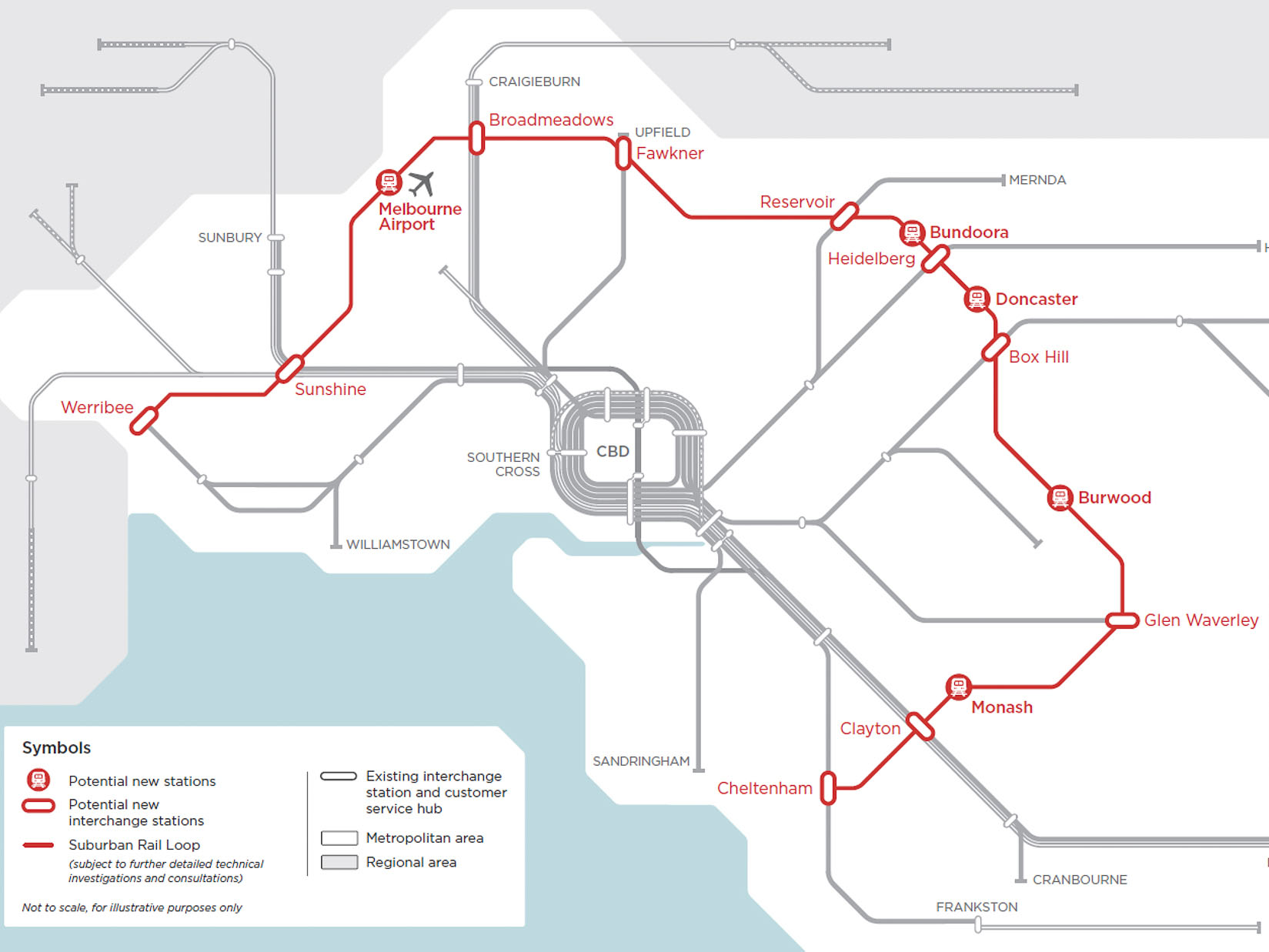 The $50 billion underground suburban rail network, which is expected to be completed by 2050 in stages, will link every major rail line in Melbourne as well as the new airport rail. Image: Victorian government