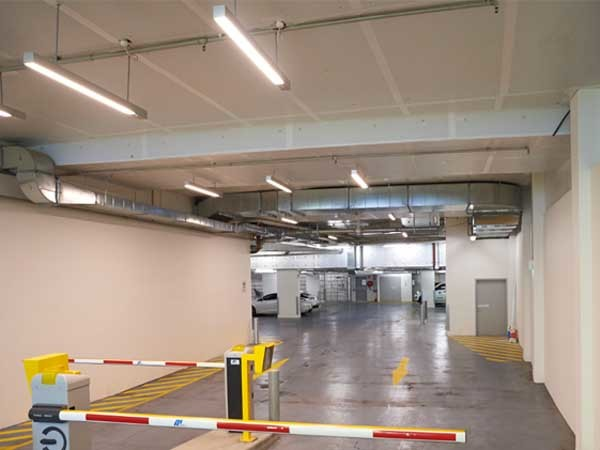 Kooltherm K10 white soffit boards provide insulation efficiencies and also brighten up the space in enclosed carparks