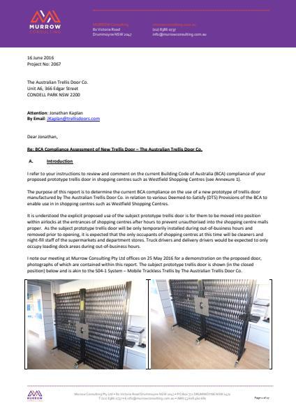 16 June 2016 Project No: 2067 The Australian Trellis Door Co