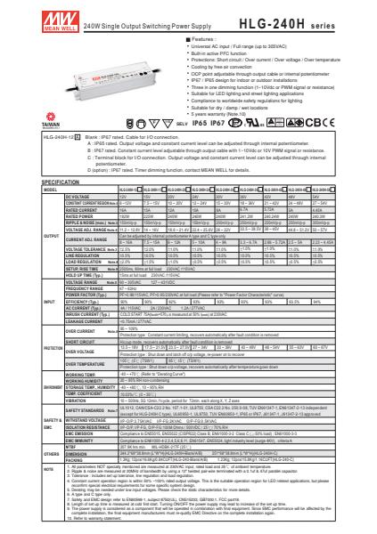 HLG-240HSpecification Sheet